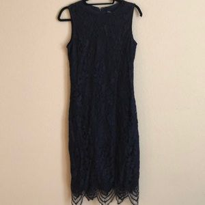 Sleeveless Lace Blue Dress
